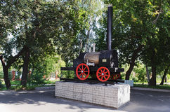 Model of the first Russian steam locomotive Stock Photography