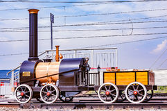 Model of the first russian steam locomotive made by Cherepanovs. Royalty Free Stock Photo