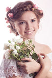 Model with floral delicate hairstyle royalty free stock photo