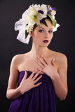 Model with floral and french nails Royalty Free Stock Photo