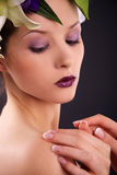 Model with floral and french nails Stock Photos