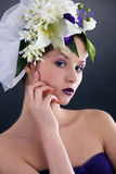Model with floral and french nails Royalty Free Stock Image