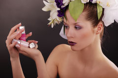 Model with floral and french nails Stock Images