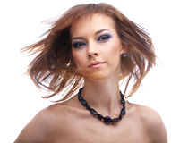 Model with fluttering hair Stock Photography