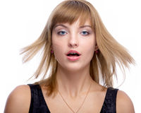 Model with fluttering hair Royalty Free Stock Photo