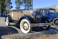 Model A Ford in parking lot Stock Images