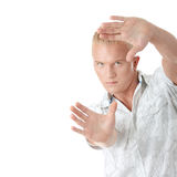 Model framing his face on Stock Images