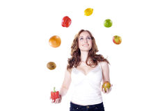Model with fruits and vegetables Royalty Free Stock Photos
