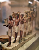 Model funerary boat with the sarcophagus of the deceased and statues Royalty Free Stock Images