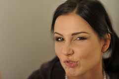 Model funny face expression close-up Royalty Free Stock Images