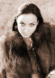 Model with fur. On location Stock Images