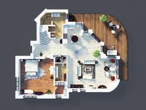 3d model of furnished home apartment Royalty Free Stock Photography