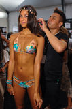 A model getting ready backstage at the Luli Fama fashion show during MBFW Swim 2015 Stock Photos