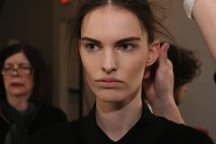 A model getting ready backstage at the Sally LaPointe Fashion show during MBFW Fall 2015 Royalty Free Stock Photography
