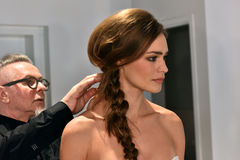A model getting ready during the Galia Lahav Bridal Fashion Week Spring/Summer 2017 presentation Stock Images