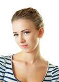 Model gezichts dichte omhooggaand op witte achtergrond royalty-vrije stock afbeelding