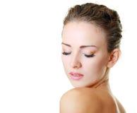 Model gezichts dichte omhooggaand op witte achtergrond stock afbeeldingen