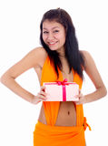 Model with gift Stock Image