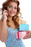 Model with gifts Royalty Free Stock Photo