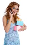Model with gifts Royalty Free Stock Images
