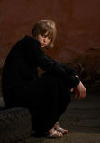 Model girl in black dress royalty free stock photos