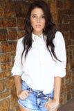 Model, Girl, Fashion, Shorts, Jeans Stock Photography
