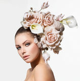 Model Girl with Flowers Hair Stock Image