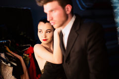 Model girl and her boyfriend at make up room after show she took part in Royalty Free Stock Photos