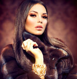Model Girl in Mink Fur Coat Royalty Free Stock Images