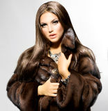 Model Girl in Mink Fur Coat Stock Photo