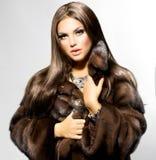 Model Girl in Mink Fur Coat. Beauty Fashion Model Girl in Mink Fur Coat Stock Photo