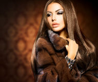 Model Girl in Mink Fur Coat Stock Images