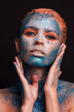 Model girl portrait with colorful make up. Fashion model girl portrait with colorful make up stock photos
