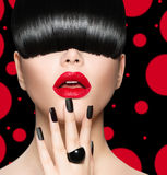 Model Girl Portrait with Trendy Hairstyle. Makeup and Manicure Royalty Free Stock Photos