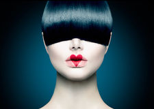 Model Girl with Trendy Fringe. High Fashion Model Girl Portrait with Trendy Fringe Royalty Free Stock Photos