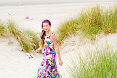 Model girl walking in sand dunes beach Stock Images