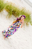 Model girl walking in sand dunes beach Royalty Free Stock Photo