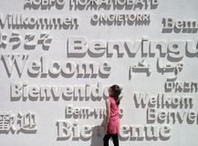 Model: Girl and Welcome Words Stock Image