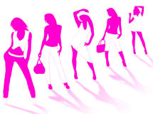 Model girls. Collection of different fashion silhouette and different women poses Royalty Free Stock Photos