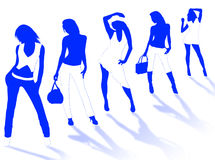 Model girls. Collection of different fashion silhouette and different women poses Stock Photo