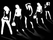 Model girls. Collection of different fashion silhouette and different women poses Royalty Free Stock Images