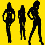 Model girls. Three silhouette of beautiful girls posing Stock Image