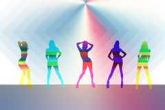 Model 5 girls in different color stock illustration