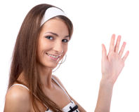 Model gives a wave Royalty Free Stock Image