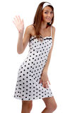 Model gives a wave Stock Photo