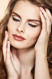 Model with glamour fashion make-up in retro style Stock Images