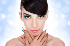 Model with glamour  makeup,  fancy nails Royalty Free Stock Photos
