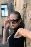 Model in glazen royalty-vrije stock fotografie