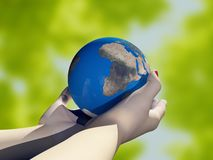Model of the globe. In his hand.3d render Stock Photos