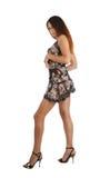 Model going in short dress, isolated on white Stock Images